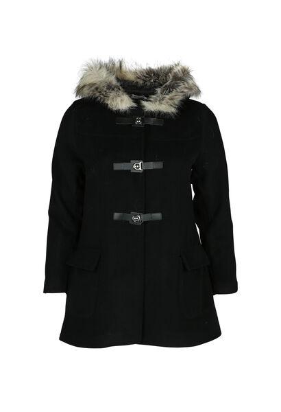 Mantel mit Pelz-Kapuze - Schwarz
