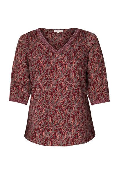 Bluse aus Voile mit Blattmuster-Print - Bordeaux