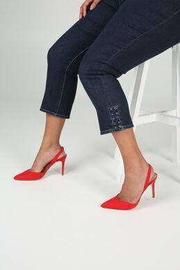 3/4-lange Jeans mit Ösen-Detail, Denim