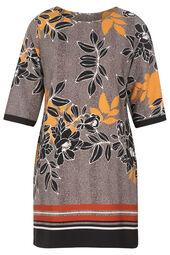Gerade geschnittenes Kleid mit Blumen-Print und Streifen