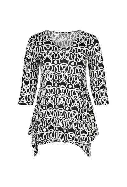 Tunika-T-Shirt mit geometrischen Rubberprint - Schwarz