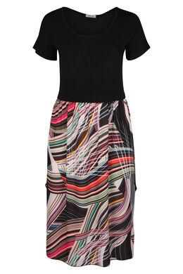 Langes Kleid mit grafischem Aufdruck, Multicolor