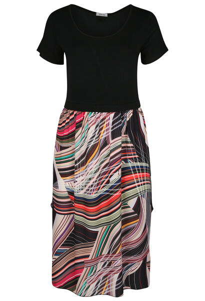 Langes Kleid mit grafischem Aufdruck - Multicolor