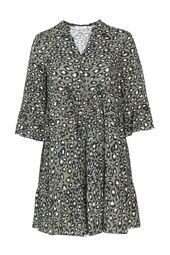 Tunika-Kleid aus Viskose mit Tierfell-Print