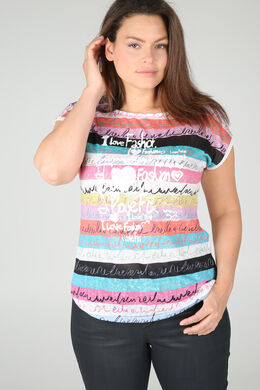 Bedrucktes T-Shirt aus Leinen, weiß