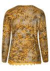 T-Shirt aus warmen Material mit Leoparden-Print, ocker