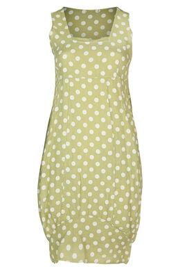 Mittellanges Leinenkleid mit Tupfenaufdruck, Olive