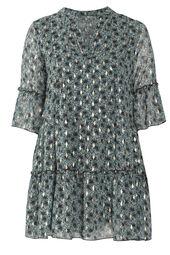 Voile-Kleid mit Paisley-Print und Goldfoil-Akzenten