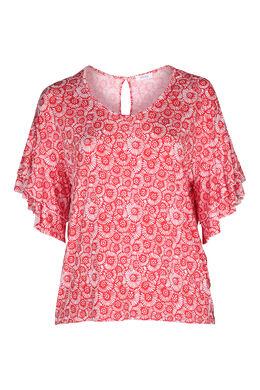 T-Shirt mit kleinen Rosetten im Relief-Druck, Rot