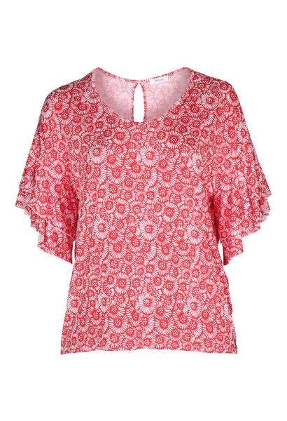 T-Shirt mit kleinen Rosetten im Relief-Druck - Rot