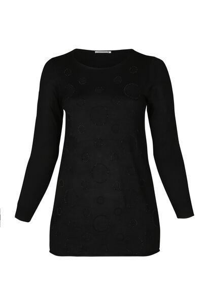 Pullover mit kreisförmigem Print und Strass - Schwarz