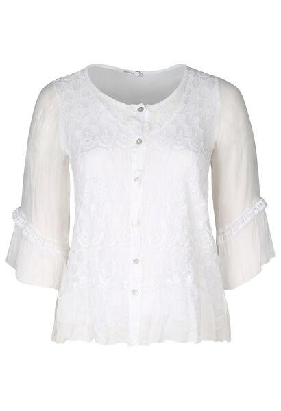 Bestickte Bluse mit 3/4-Ärmeln - weiß