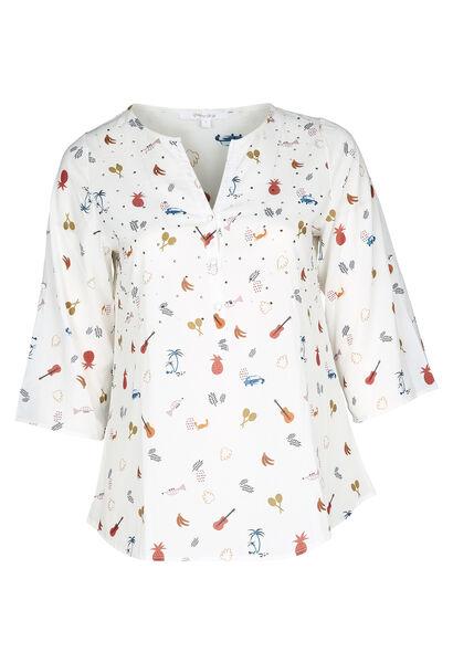 Bluse aus bedrucktem Voile - naturfarben