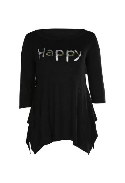 """T-Shirt mit Schriftzug """"Happy"""" aus Pailletten und Perlen - Schwarz"""