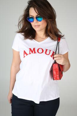 """T-Shirt mit Aufdruck """"amour"""", Rot"""
