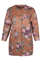 Lange Jacke aus Wildlederimitat mit Blumen-Print