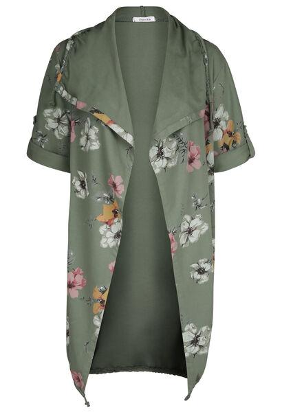 Lange Jacke aus Sweatshirt-Stoff mit Blumen-Print - Khaki