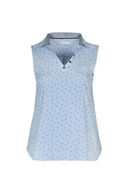 Bluse mit Hemdkragen und Phantasie-Print, weiß