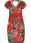 Bedrucktes Kleid aus kühlem Material mit tropischem Aufdruck, Rot