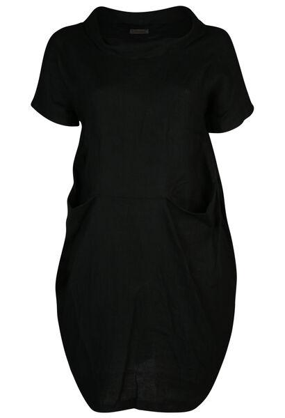 Kleid mit Balloneffekt aus Leinen - Schwarz