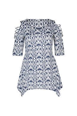 Tunika-T-Shirt aus kühlem Material, Denim