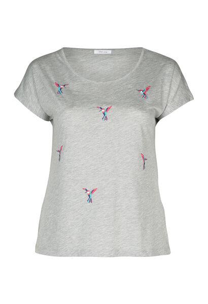 Mit Vögeln besticktes T-Shirt - China Grau