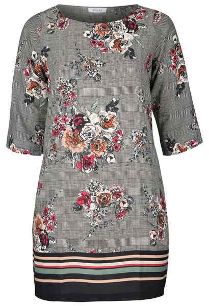 Kleid aus bedrucktem Krepp - Schwarz