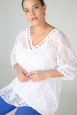 Großzügig geschnittene Bluse aus Spitze, weiß
