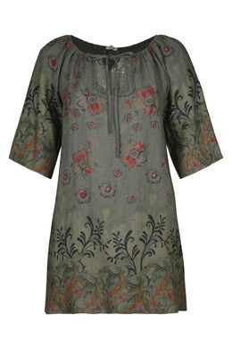 Leinenkleid mit Blumenaufdruck, Khaki