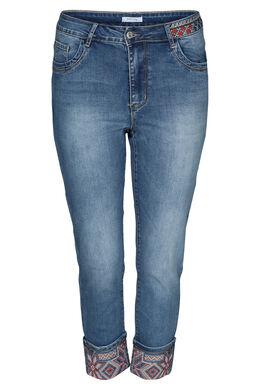 Jeans mit Stickerei auf den unteren Hosenbeinen, Denim