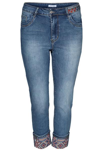 Jeans mit Stickerei auf den unteren Hosenbeinen - Denim