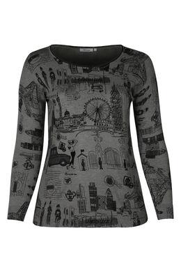 Tunika-Pullover mit London-Aufdruck , Grau