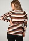 T-Shirt mit Lurex-Streifenaufdruck, Orange