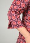Bluse mit tunesischem Ausschnitt und geometrischem Aufdruck, Pflaume