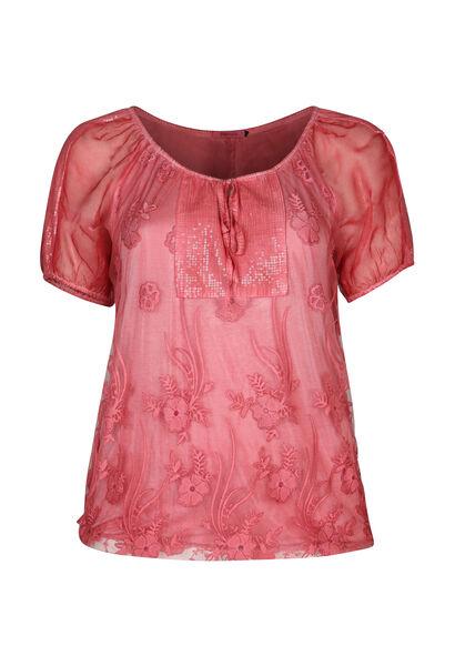 T-Shirt aus Ausbrenner-Material mit Strass - Orange