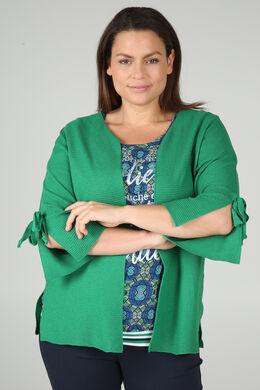 Langärmeliger Cardigan mit Bindedetail, Grün