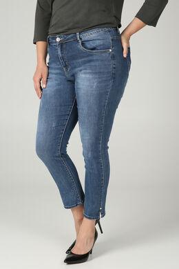 7/8-Slim Jeans mit Perlen-Details, Denim