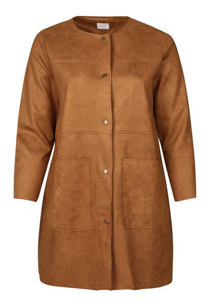 Langer Mantel aus einfarbigem Wildlederimitat - Kamel