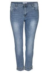 Caprihose aus Jeans mit Perlen