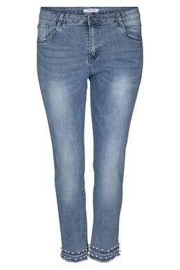 Caprihose aus Jeans mit Perlen, Denim