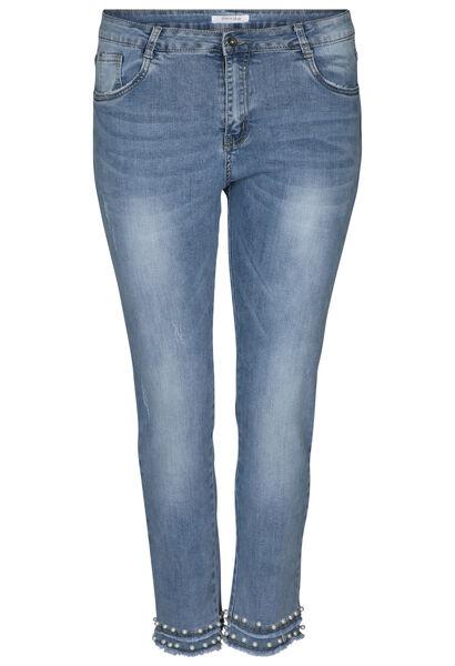 7/8-Slim Jeans mit Perlen - Denim