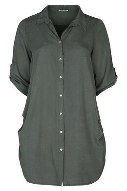 Lange Hemdbluse mit 3/4-Ärmeln, Khaki