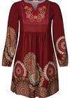 Kleid aus Maschenware mit Rosetten-Print, Kupfer
