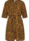 Kleid aus Krepp mit Leoparden-Print, ocker