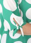 Mit großen Tupfen bedruckte Bluse aus Voile, Grün