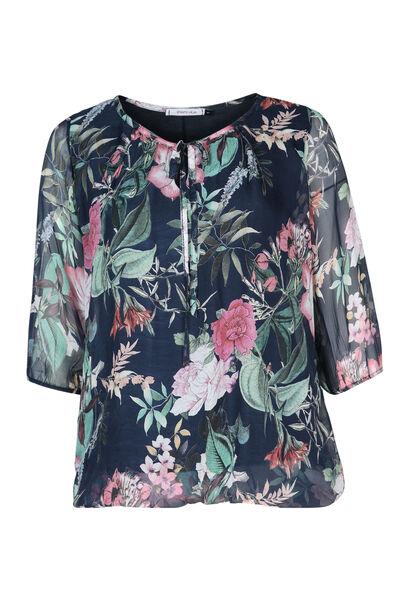 Bluse mit Blumendruck - Marine