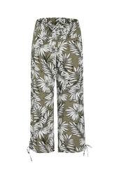 Weich fließende Hose mit Palmblätter-Print