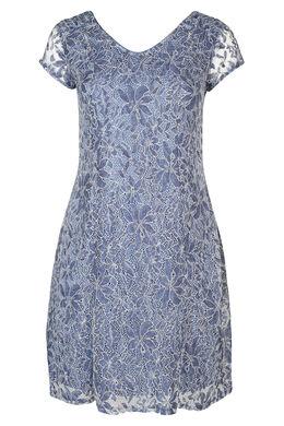 Kleid mit kurzen Ärmeln aus Spitze, Indigo