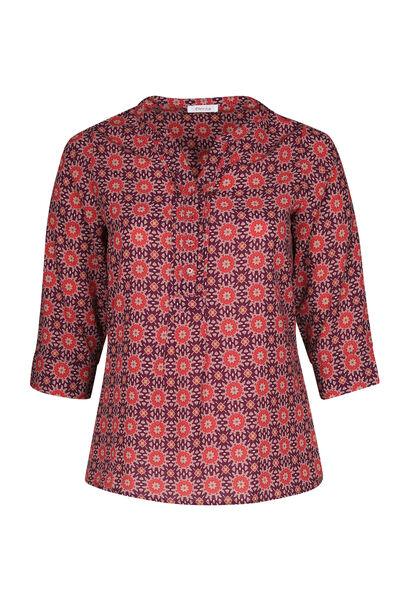 Bluse mit tunesischem Ausschnitt und geometrischem Aufdruck - Pflaume