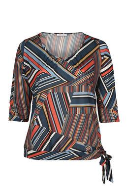 T-Shirt mit Streifenaufdruck, Orange